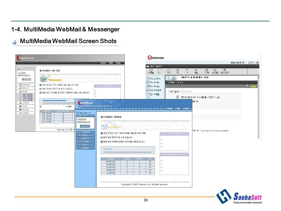 26 1-4. MultiMedia WebMail & Messenger MultiMedia WebMail Screen Shots