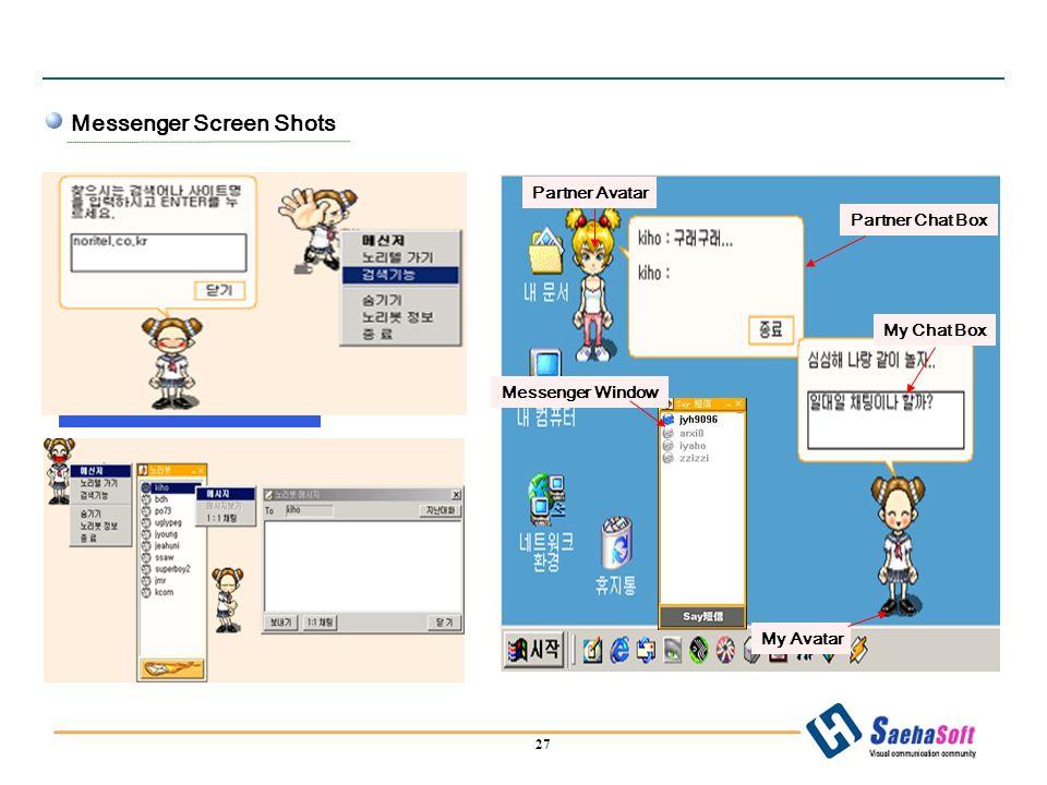 27 Messenger Screen Shots Messenger Window Partner Chat Box My Chat Box My Avatar Partner Avatar