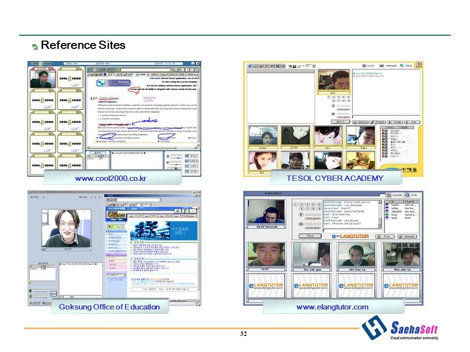 32 www.cool2000.co.krTESOL CYBER ACADEMY Goksung Office of Educationwww.elangtutor.com Reference Sites