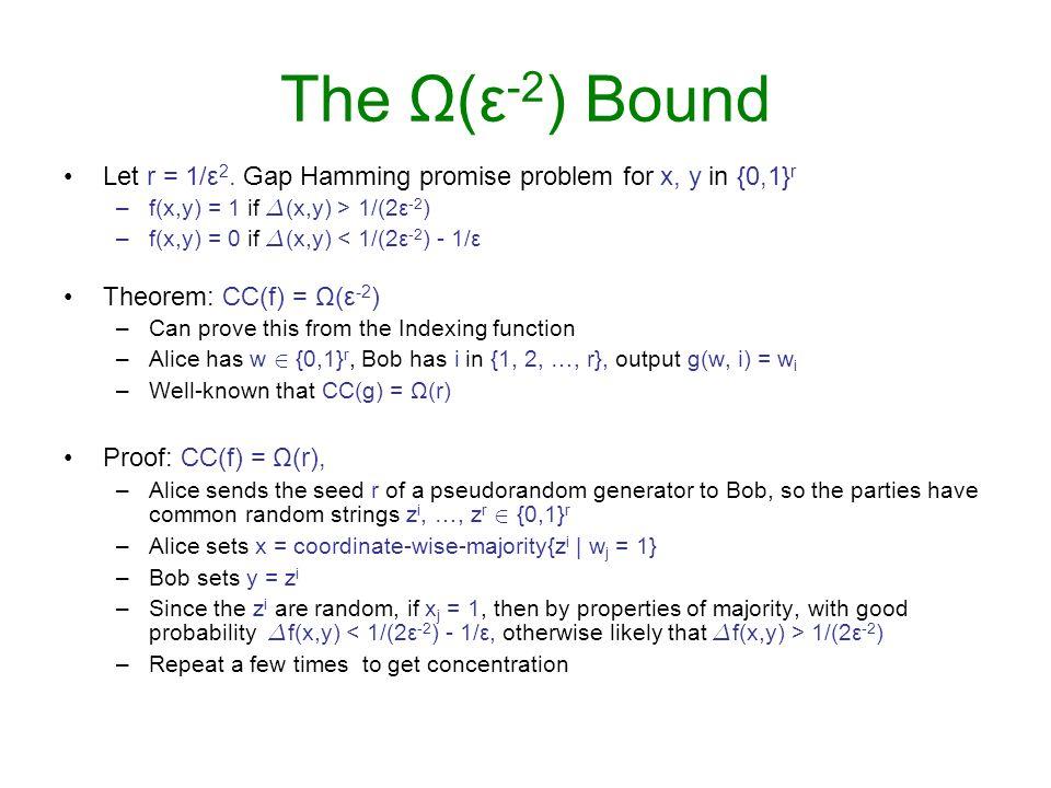 The Ω(ε -2 ) Bound Let r = 1/ε 2. Gap Hamming promise problem for x, y in {0,1} r –f(x,y) = 1 if ¢ (x,y) > 1/(2ε -2 ) –f(x,y) = 0 if ¢ (x,y) < 1/(2ε -