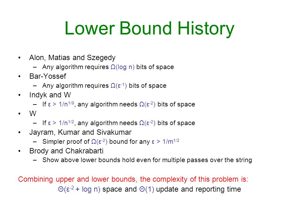 Lower Bound History Alon, Matias and Szegedy –Any algorithm requires Ω(log n) bits of space Bar-Yossef –Any algorithm requires Ω(ε -1 ) bits of space