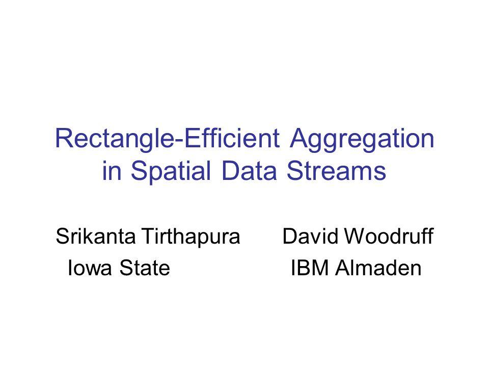Rectangle-Efficient Aggregation in Spatial Data Streams Srikanta Tirthapura David Woodruff Iowa State IBM Almaden