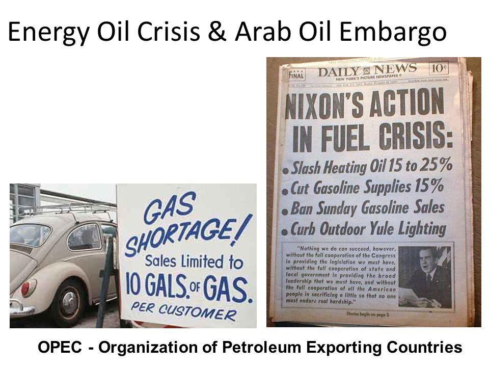 Energy Oil Crisis & Arab Oil Embargo OPEC - Organization of Petroleum Exporting Countries