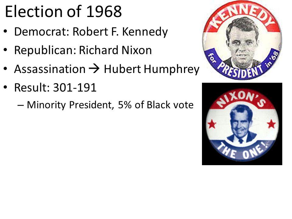 Election of 1968 Democrat: Robert F. Kennedy Republican: Richard Nixon Assassination Hubert Humphrey Result: 301-191 – Minority President, 5% of Black