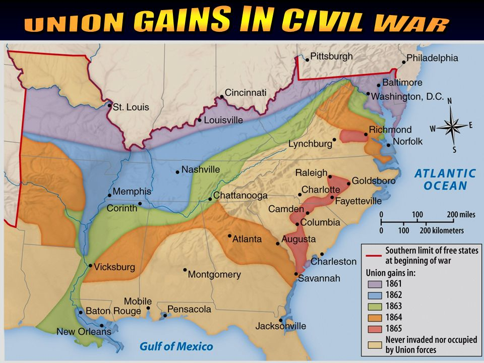DATEBATTLEVICTORRESULT March 1865RaleighUnion Sherman destroys North Carolina and continues north to meet up with Grant April 1865AppomattoxUnionLee s