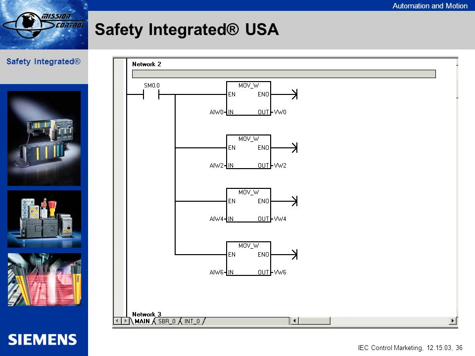 Automation and Motion IEC Control Marketing, , 36 Safety Integrated® Safety Integrated® USA