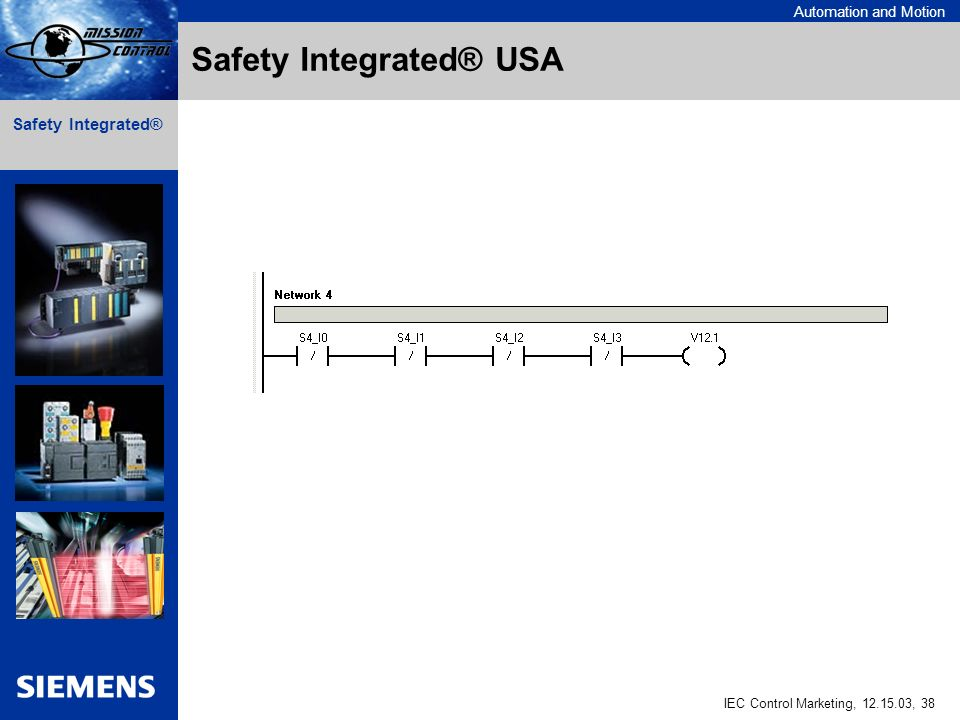 Automation and Motion IEC Control Marketing, 12.15.03, 38 Safety Integrated® Safety Integrated® USA