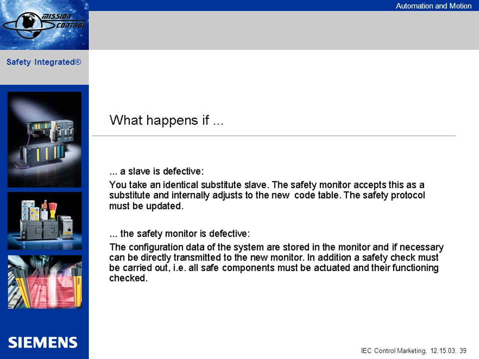 Automation and Motion IEC Control Marketing, 12.15.03, 39 Safety Integrated®