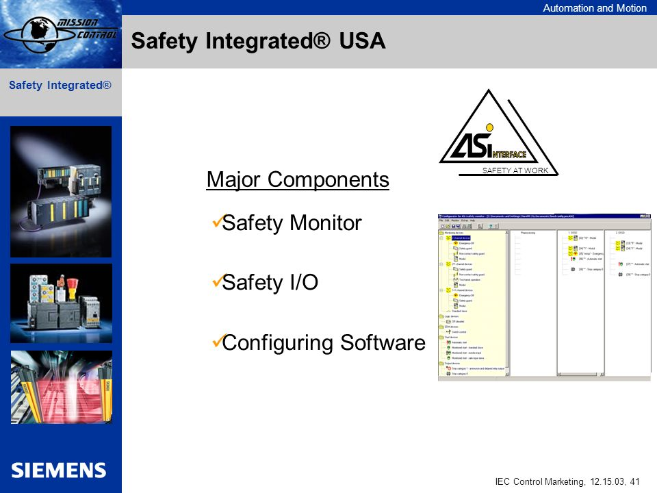 Automation and Motion IEC Control Marketing, 12.15.03, 41 Safety Integrated® SAFETY AT WORK Safety Monitor Safety I/O Configuring Software Major Components Safety Integrated® USA