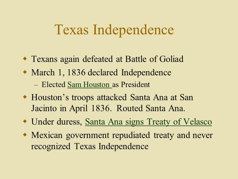 Santa Ana Signs Treaty of Velasco