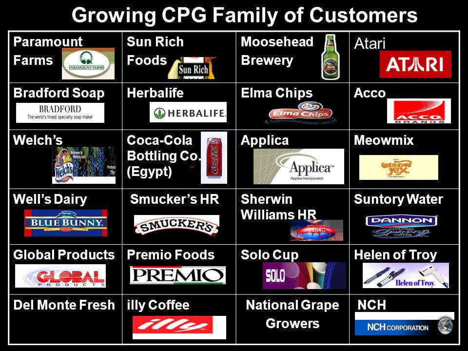 Growing CPG Family of Customers Paramount Farms Sun Rich Foods Moosehead Brewery Atari Bradford SoapHerbalifeElma ChipsAcco WelchsCoca-Cola Bottling C