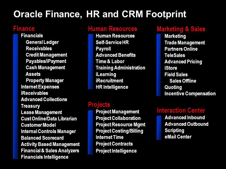Oracle Finance, HR and CRM Footprint Finance Financials General Ledger Receivables Credit Management Payables/iPayment Cash Management Assets Property