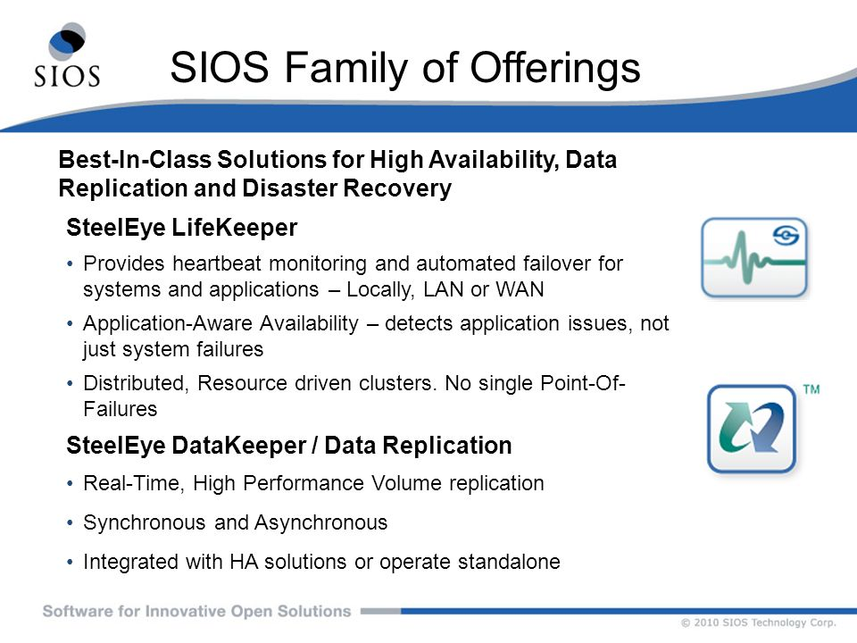SIOS Family of Offerings Best-In-Class Solutions for High Availability, Data Replication and Disaster Recovery SteelEye LifeKeeper Provides heartbeat