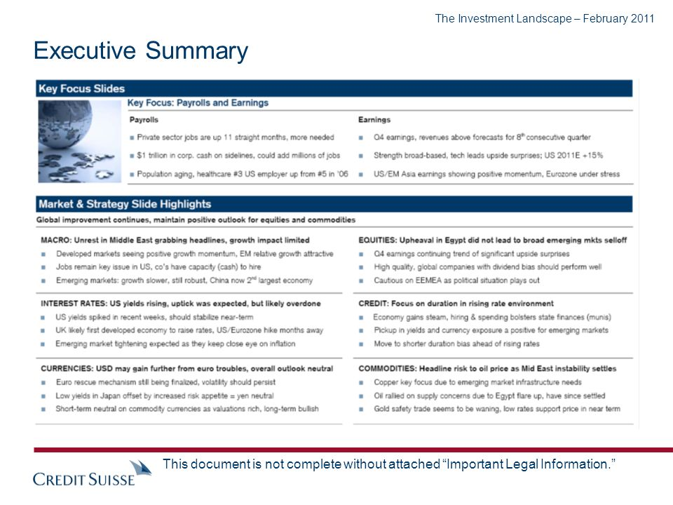 The Investment Landscape – February 2011 This document is not complete without attached Important Legal Information. Executive Summary