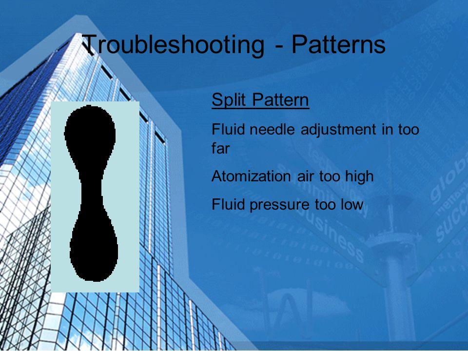 Troubleshooting - Patterns Center Heavy Spreader adjustment in too far Atomizing pressure too low Fluid pressure too high Fluid tip incorrect size for