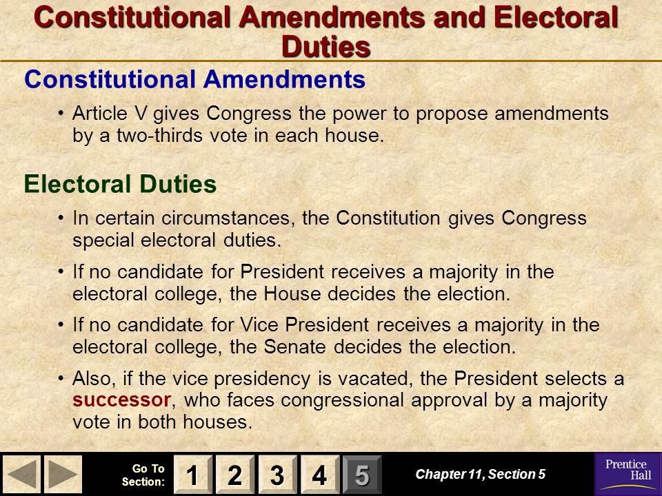 123 Go To Section: 4 5 Constitutional Amendments and Electoral Duties Chapter 11, Section 5 3333 4444 1111 2222 Electoral Duties In certain circumstances, the Constitution gives Congress special electoral duties.