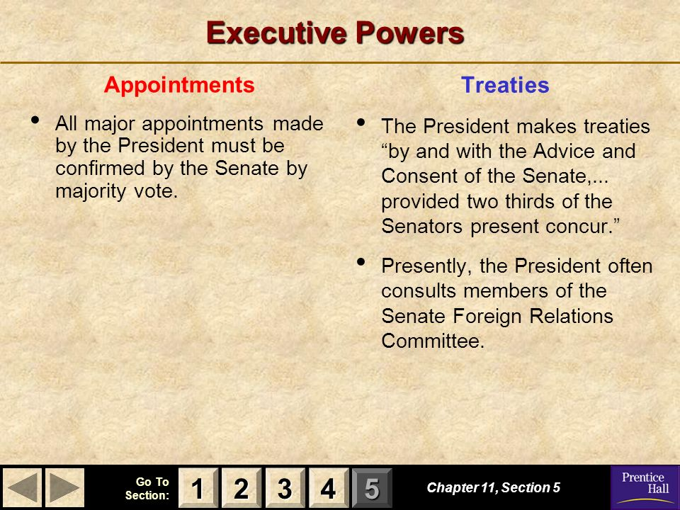 123 Go To Section: 4 5 Executive Powers Appointments All major appointments made by the President must be confirmed by the Senate by majority vote.