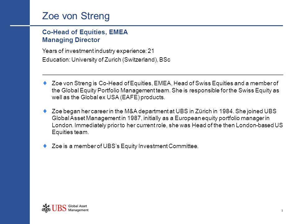 3 Zoe von Streng Co-Head of Equities, EMEA Managing Director Zoe von Streng is Co-Head of Equities, EMEA, Head of Swiss Equities and a member of the G
