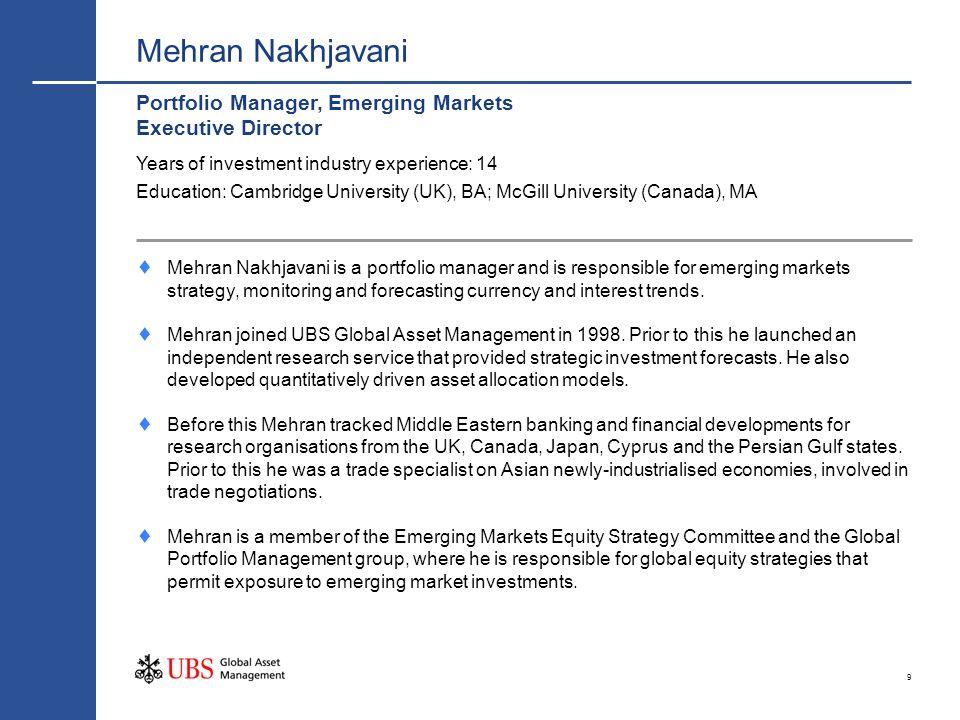 9 Mehran Nakhjavani Portfolio Manager, Emerging Markets Executive Director Mehran Nakhjavani is a portfolio manager and is responsible for emerging ma
