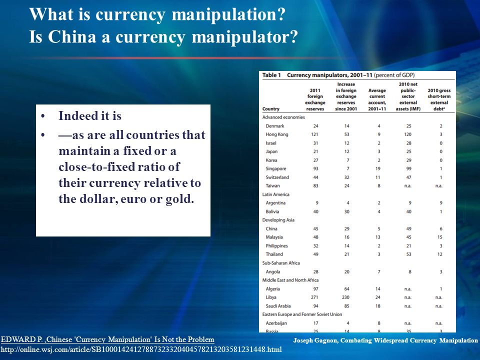 What is currency manipulation. Is China a currency manipulator.