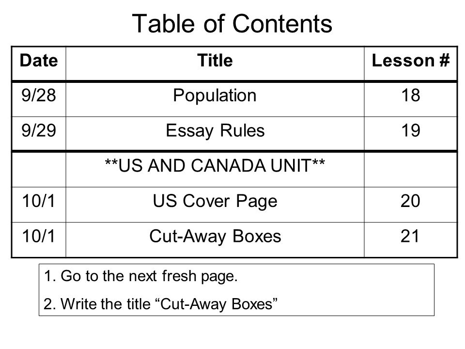 Table of Contents DateTitleLesson # 9/28Population18 9/29Essay Rules19 **US AND CANADA UNIT** 10/1US Cover Page20 10/1Cut-Away Boxes21 1.