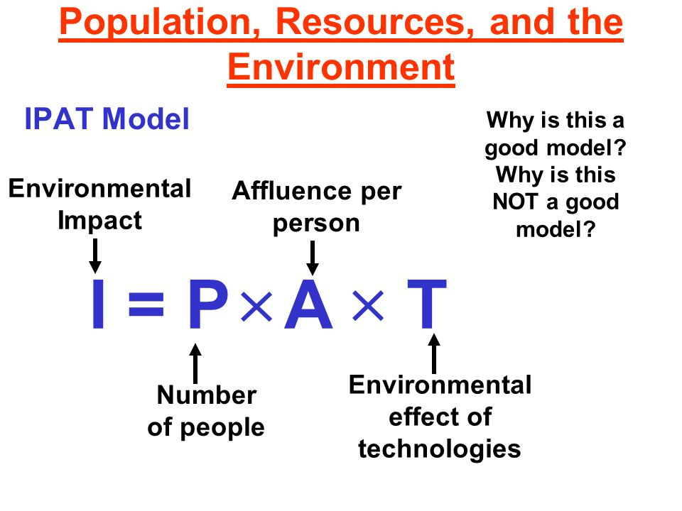 Population, Resources, and the Environment Ecological footprint Ecological Footprint -- the amount of land needed to produce the resources needed by a