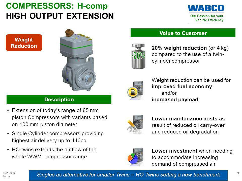 Our Passion for your Vehicle Efficiency Dec 2009 India 7 COMPRESSORS: H-comp HIGH OUTPUT EXTENSION Singles as alternative for smaller Twins – HO Twins