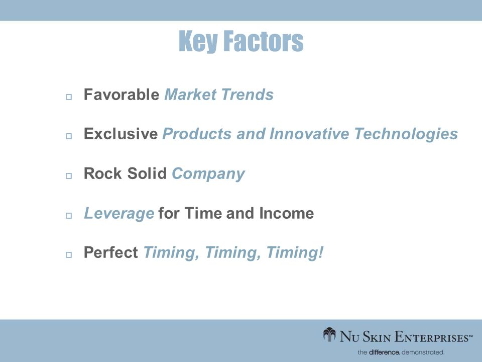 Favorable Market Trends Exclusive Products and Innovative Technologies Rock Solid Company Leverage for Time and Income Perfect Timing, Timing, Timing!