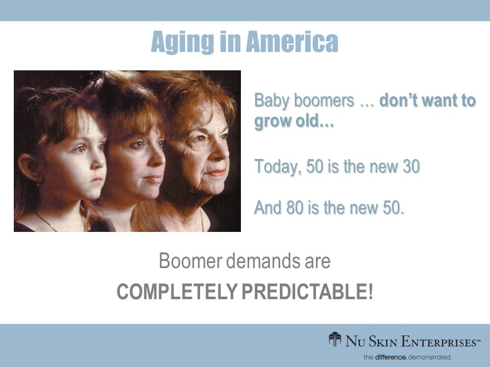 Baby boomers … dont want to grow old… Today, 50 is the new 30 And 80 is the new 50. Boomer demands are COMPLETELY PREDICTABLE! Aging in America