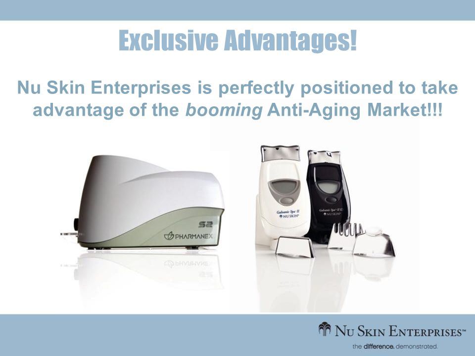 Nu Skin Enterprises is perfectly positioned to take advantage of the booming Anti-Aging Market!!! Exclusive Advantages!
