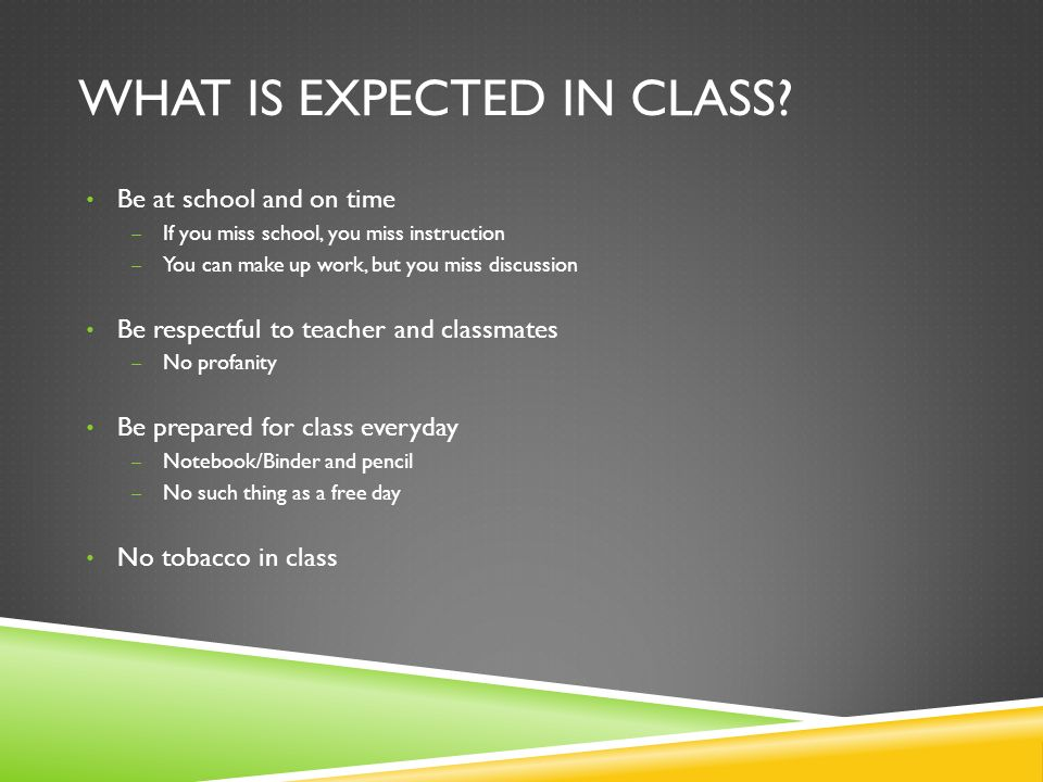 WHAT IS EXPECTED IN CLASS.