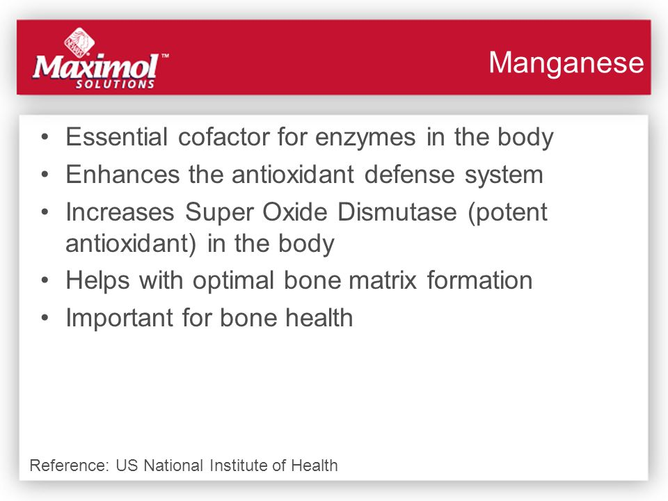 Essential cofactor for enzymes in the body Enhances the antioxidant defense system Increases Super Oxide Dismutase (potent antioxidant) in the body He