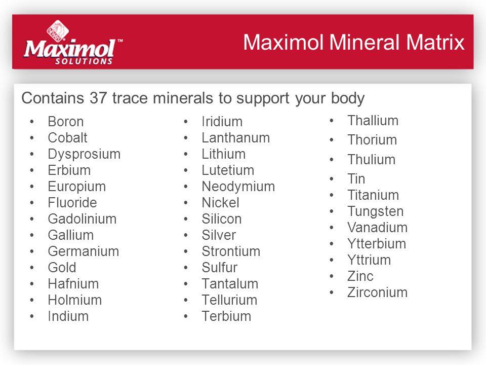 Maximol Mineral Matrix Boron Cobalt Dysprosium Erbium Europium Fluoride Gadolinium Gallium Germanium Gold Hafnium Holmium Indium Iridium Lanthanum Lit
