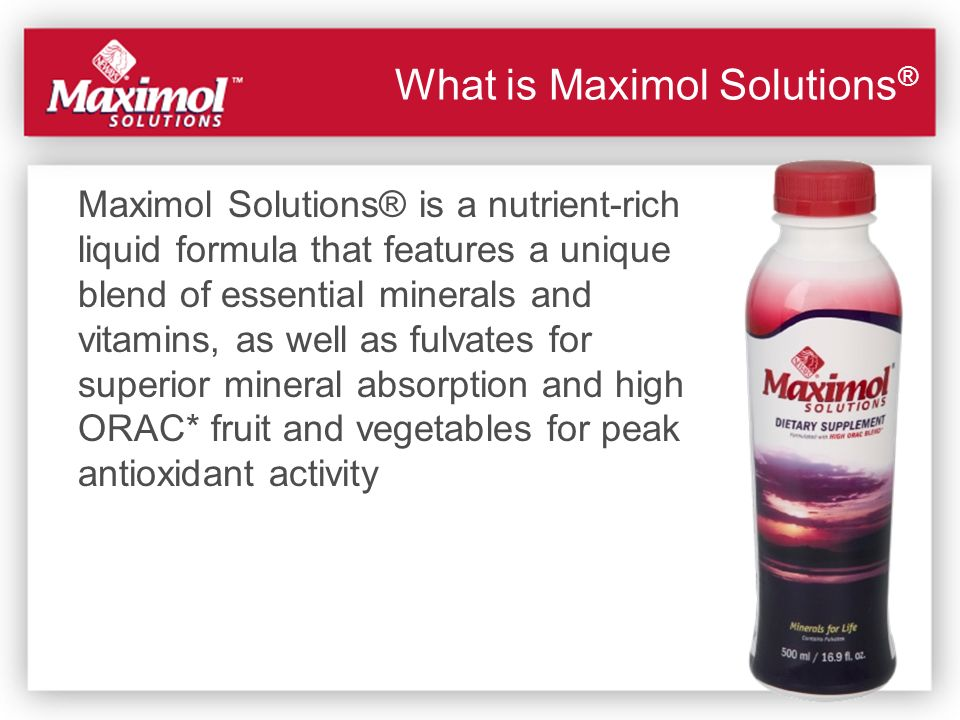Maximol Solutions® is a nutrient-rich liquid formula that features a unique blend of essential minerals and vitamins, as well as fulvates for superior
