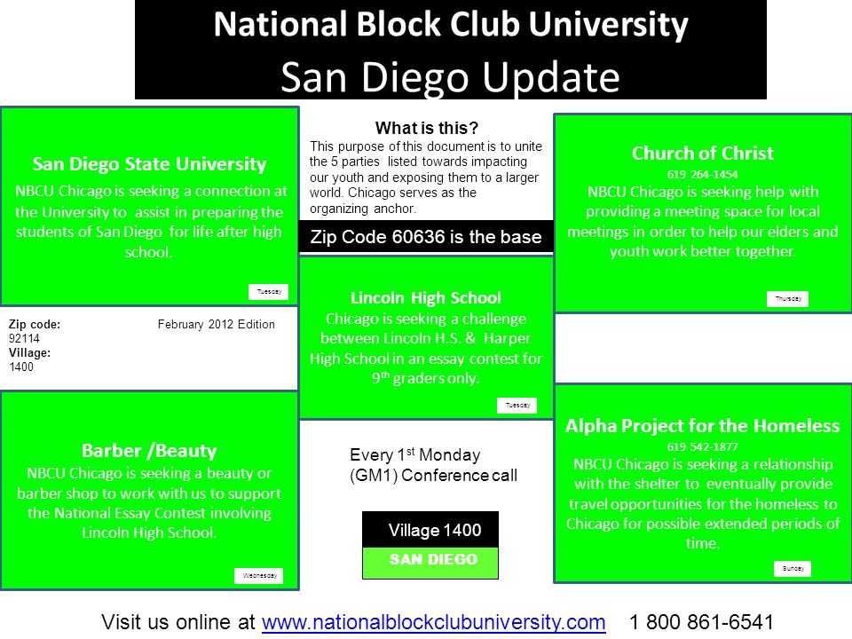 National Block Club University San Diego Update San Diego State University NBCU Chicago is seeking a connection at the University to assist in preparing the students of San Diego for life after high school.