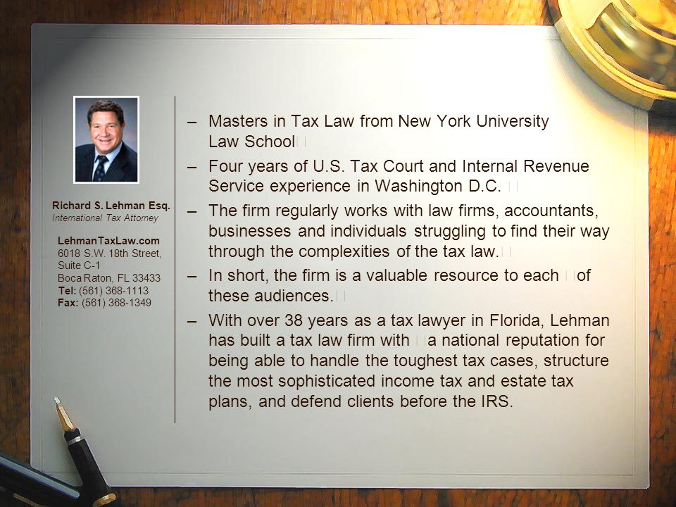 Two New United States Laws 1.Under the first new law known as the Foreign Accounts Compliance Act (the FATCA) beginning with the year 2011 annual income tax returns, there are new reporting requirements in place for U.S.