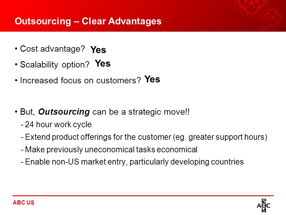 Outsourcing – Clear Advantages Cost advantage? Scalability option? Increased focus on customers? But, Outsourcing can be a strategic move!! -24 hour w