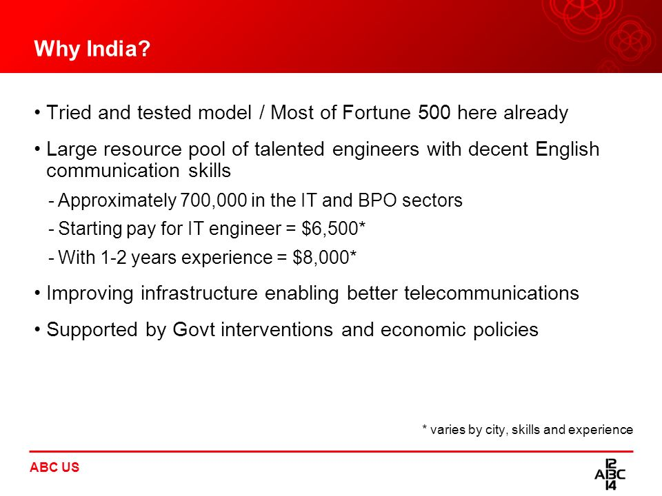 ABC US Why India? Tried and tested model / Most of Fortune 500 here already Large resource pool of talented engineers with decent English communicatio