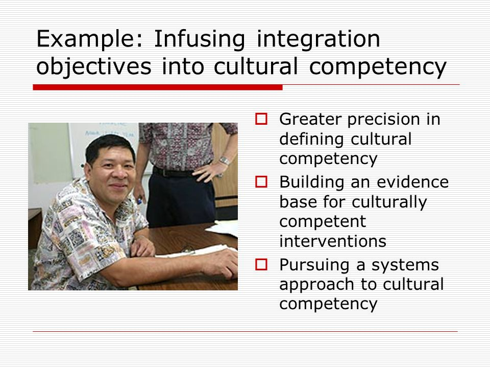 Example: Infusing integration objectives into cultural competency Greater precision in defining cultural competency Building an evidence base for culturally competent interventions Pursuing a systems approach to cultural competency