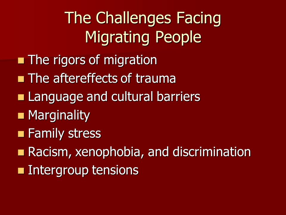 The Challenges Facing Migrating People The rigors of migration The rigors of migration The aftereffects of trauma The aftereffects of trauma Language and cultural barriers Language and cultural barriers Marginality Marginality Family stress Family stress Racism, xenophobia, and discrimination Racism, xenophobia, and discrimination Intergroup tensions Intergroup tensions