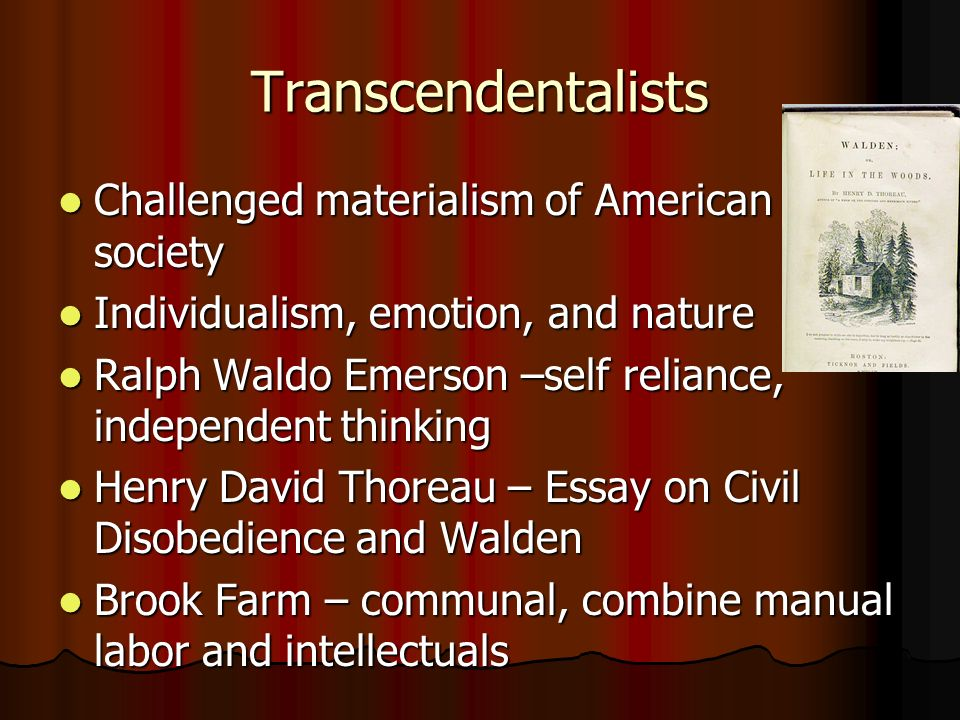 Transcendentalists Challenged materialism of American society Challenged materialism of American society Individualism, emotion, and nature Individual