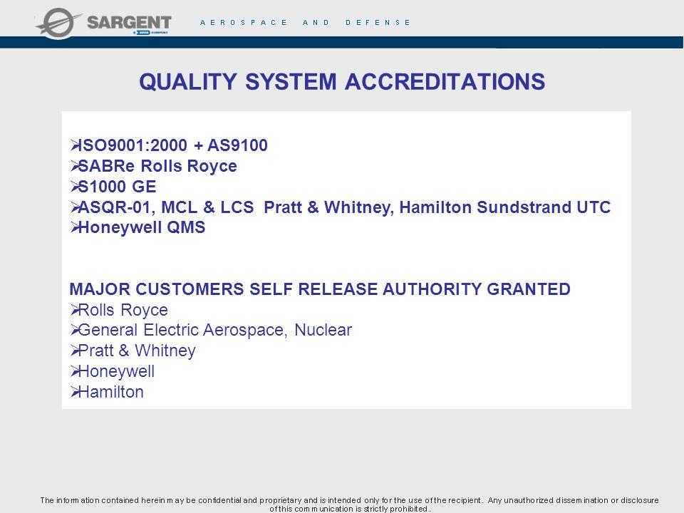 QUALITY SYSTEM ACCREDITATIONS ISO9001:2000 + AS9100 SABRe Rolls Royce S1000 GE ASQR-01, MCL & LCS Pratt & Whitney, Hamilton Sundstrand UTC Honeywell Q