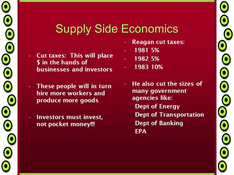 Supply Side Economics Cut taxes: This will place $ in the hands of businesses and investors These people will in turn hire more workers and produce more goods Investors must invest, not pocket money!!.