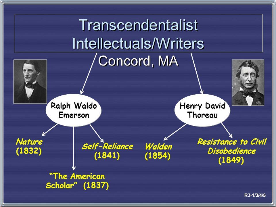 Transcendentalist Intellectuals/Writers Concord, MA Ralph Waldo Emerson Henry David Thoreau Nature (1832) Walden (1854) Resistance to Civil Disobedien