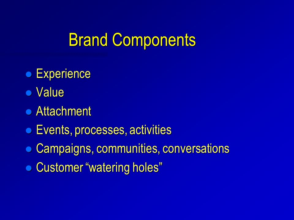 Brand Components l Experience l Value l Attachment l Events, processes, activities l Campaigns, communities, conversations l Customer watering holes