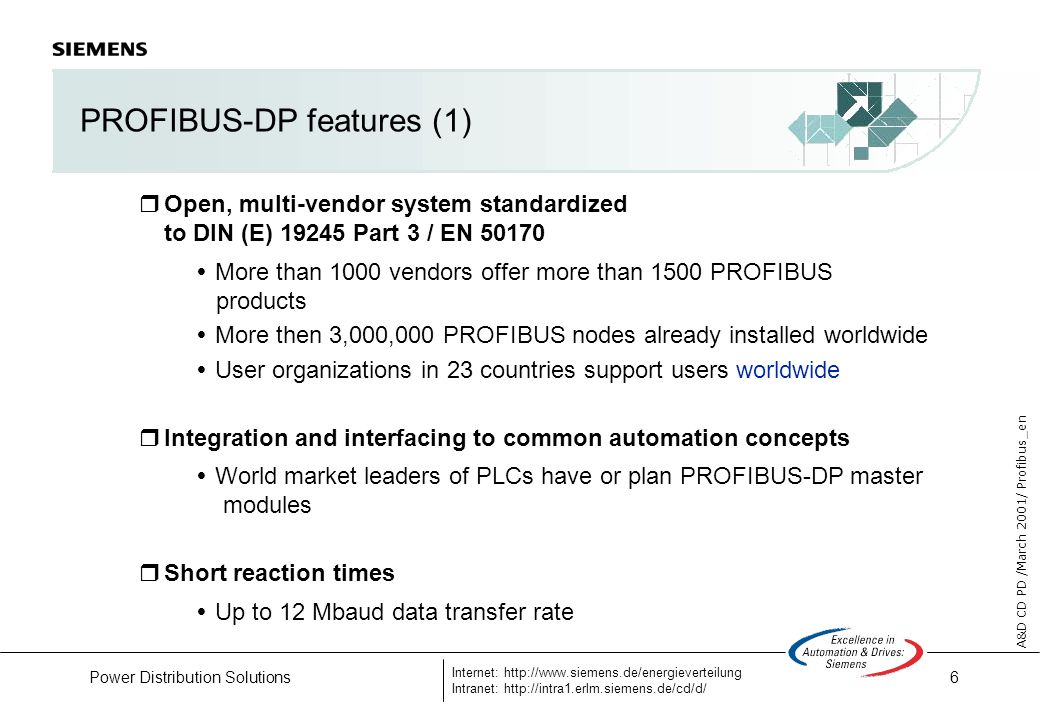 6 A&D CD PD /March 2001/ Profibus_en Internet: http://www.siemens.de/energieverteilung Intranet: http://intra1.erlm.siemens.de/cd/d/ Power Distribution Solutions PROFIBUS-DP features (1) Open, multi-vendor system standardized to DIN (E) 19245 Part 3 / EN 50170 More than 1000 vendors offer more than 1500 PROFIBUS products More then 3,000,000 PROFIBUS nodes already installed worldwide User organizations in 23 countries support users worldwide Integration and interfacing to common automation concepts World market leaders of PLCs have or plan PROFIBUS-DP master modules Short reaction times Up to 12 Mbaud data transfer rate