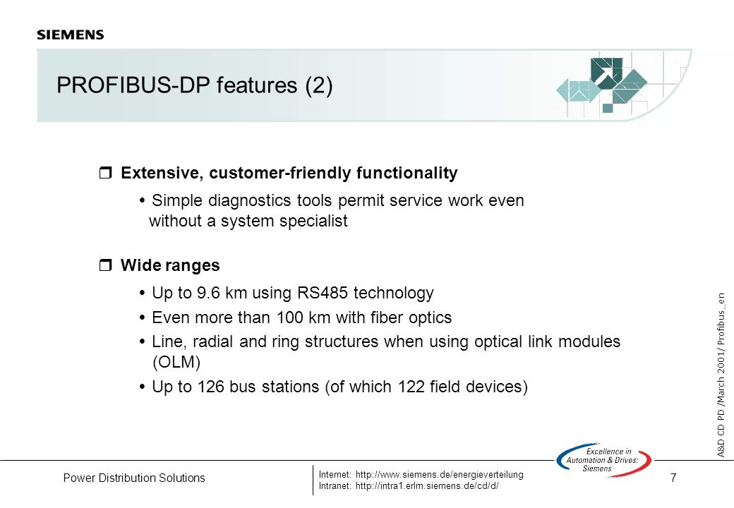 7 A&D CD PD /March 2001/ Profibus_en Internet: http://www.siemens.de/energieverteilung Intranet: http://intra1.erlm.siemens.de/cd/d/ Power Distribution Solutions PROFIBUS-DP features (2) Extensive, customer-friendly functionality Simple diagnostics tools permit service work even without a system specialist Wide ranges Up to 9.6 km using RS485 technology Even more than 100 km with fiber optics Line, radial and ring structures when using optical link modules (OLM) Up to 126 bus stations (of which 122 field devices)