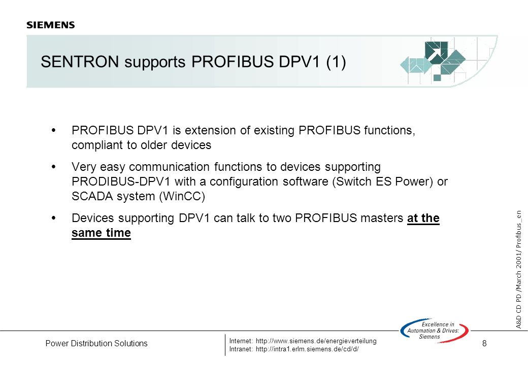 8 A&D CD PD /March 2001/ Profibus_en Internet: http://www.siemens.de/energieverteilung Intranet: http://intra1.erlm.siemens.de/cd/d/ Power Distribution Solutions SENTRON supports PROFIBUS DPV1 (1) PROFIBUS DPV1 is extension of existing PROFIBUS functions, compliant to older devices Very easy communication functions to devices supporting PRODIBUS-DPV1 with a configuration software (Switch ES Power) or SCADA system (WinCC) Devices supporting DPV1 can talk to two PROFIBUS masters at the same time