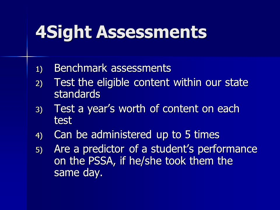 4Sight Assessments 1) Benchmark assessments 2) Test the eligible content within our state standards 3) Test a years worth of content on each test 4) C