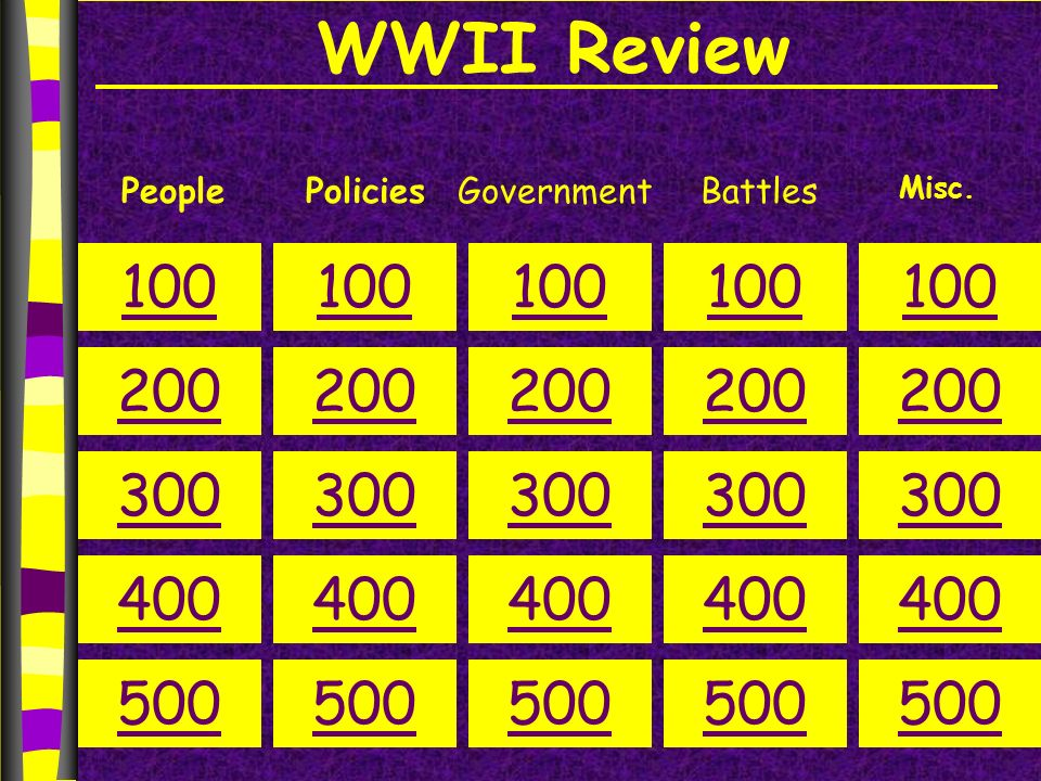 WWII Review PeoplePoliciesGovernment 100 200 300 400 500 100 200 300 400 500 100 200 300 400 500 100 200 300 400 500 100 200 300 400 500 Misc.